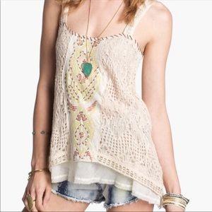 Free People Maya embroidered crochet tank